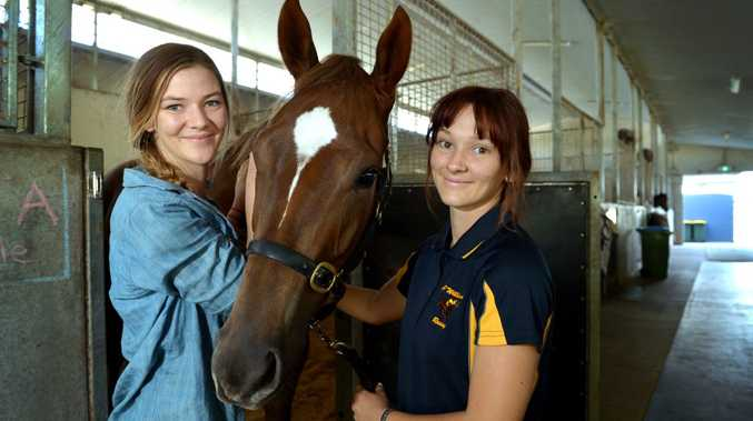 Brittany and Roxanne Pitcher with Molly (aka Opinionated) at Corbould Park. Photo: John McCutcheon / Sunshine Coast Daily