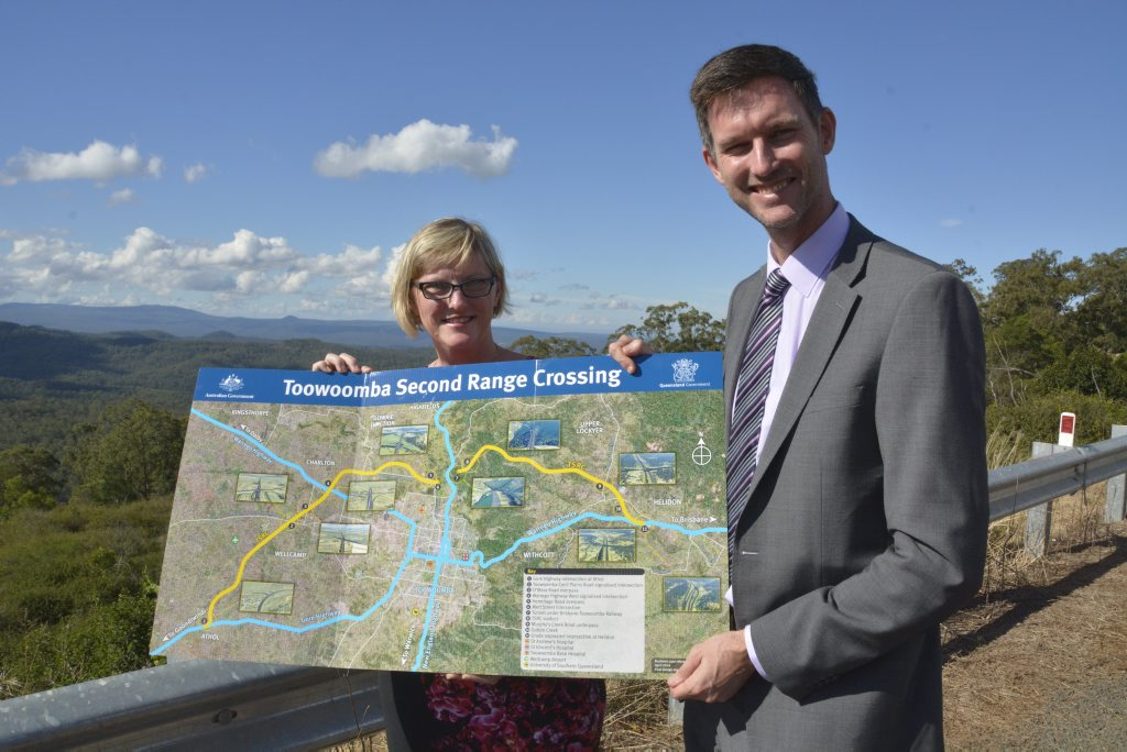 Transport and Mains Road regional director (Downs and South West) Kym Murphy with State Minister for Main Roads Mark Bailey on a recent visit to Toowoomba.
