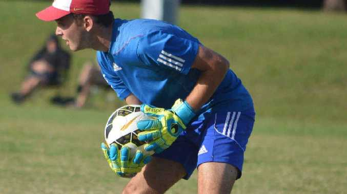 LEARNING CURVE: Young Lismore Workers goalkeeper Mark McPhail had some moments of brilliance despite his team losing 4-1 to undefeated leaders Byron Bay in Far North Coast premier league soccer on Sunday.