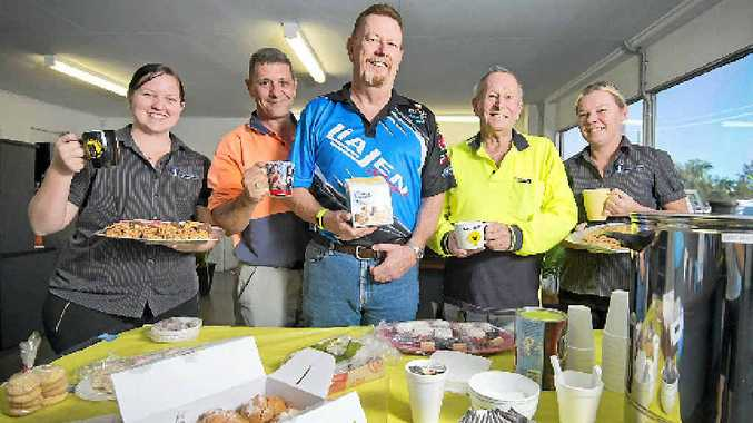 Gladrock Transport employees Kacie Mastroieni, Jimmie Burgess, Steve Spencer, cancer victim Kyle Webster and Bobbie-Lea Burgess held an Australia's Biggest Morning Tea at their workplace.