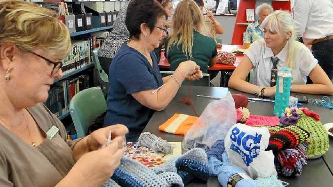 BIG EFFORT: Students, staff and members of the local community come together to knit and crochet garments for victims of the earthquake in Nepal.