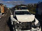 Two-vehicle crash, Sunshine Motorway, Mooloolaba. A female driver has been taken to hospital.