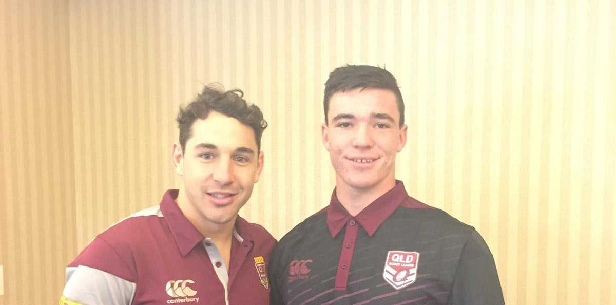 Proserpine Brahmans' product Nathan Barrett, pictured here with Billy Slater, scored the game-winning try in last night's Under-16s State of Origin match at ANZ Stadium.