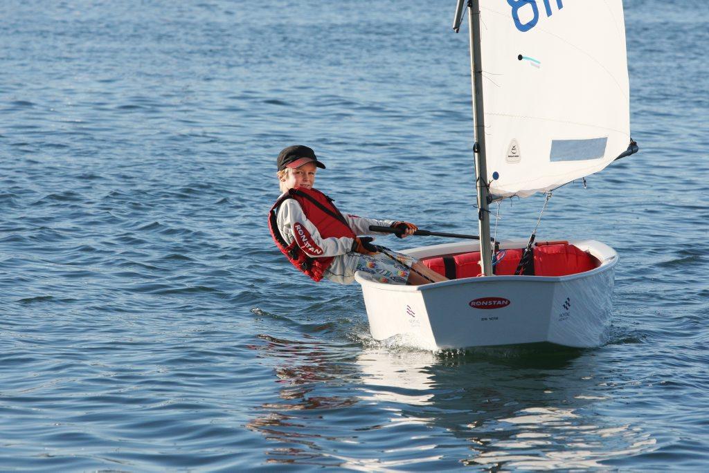 Maroochy Sailing Club junior member Zachary Edwards enjoying time with his Optimist.