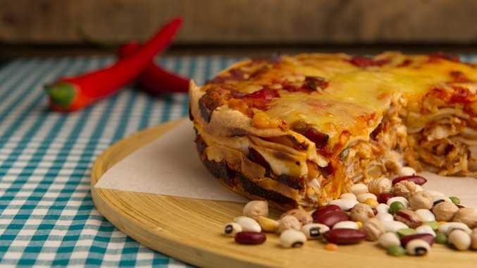 SIMPLY DELICIOUS: Kim McCosker's chicken enchilada cake, made using only four ingredients.
