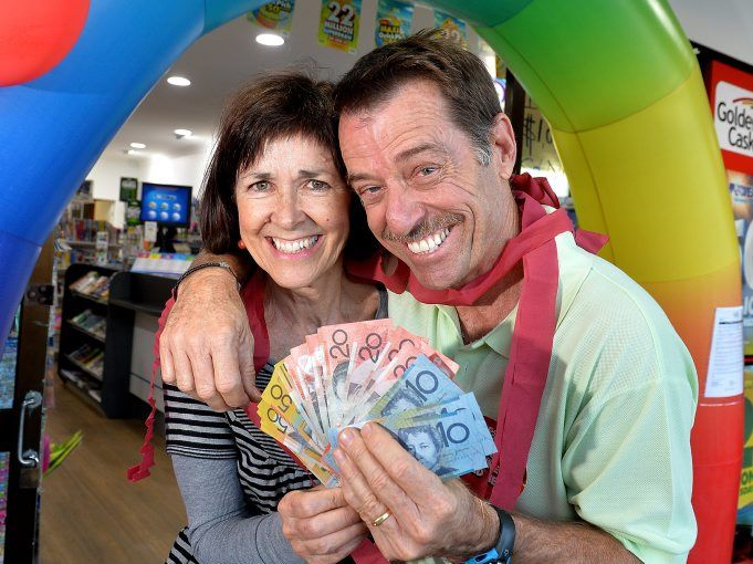 Gavin Yarrow and his wife Sue from Wurtulla Newsagency sold the second First Division prize in 12 months. Photo: Warren Lynam / Sunshine Coast Daily