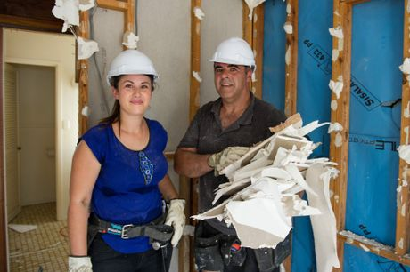 Tiana and Steve pictured during demolition work at Ben and Danielle's Brisbane home.