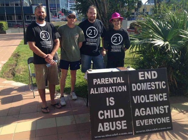 FIGHT FOR FAIR: Rockhampton Australian Brotherhood of Fathers members Dean Rickards, Scott Mason, David Falge and Craig-Alan Keighley rally for fair treatment of fathers.