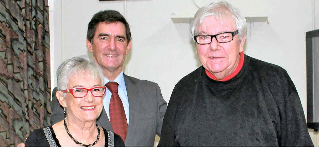 INDEE STALWARTS: The Indee's Carol and John Burls receive an award for community theatre service from Member for Nicklin Peter Wellington.