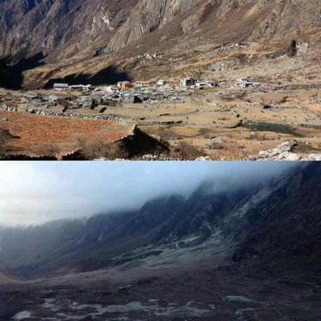 The village of Langtang, before and after the earthquake. Photo Contributed