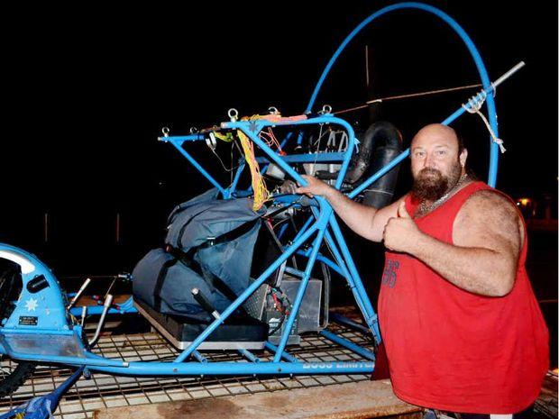 Shaun Edwards with his Powerchute.