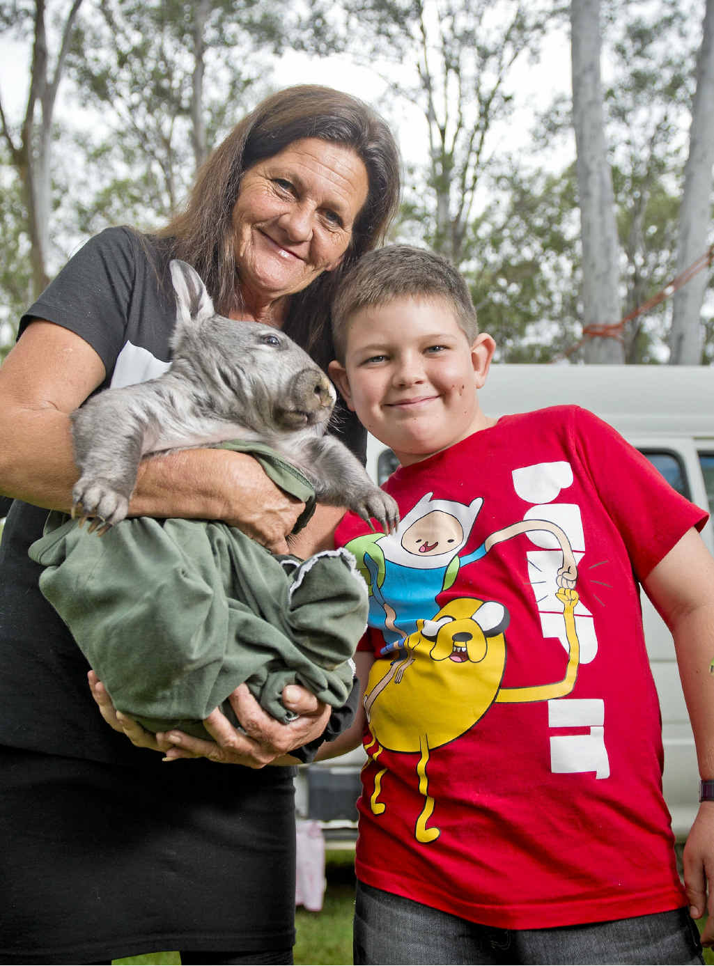 HAIRY MOMENTS: Humphrey a Southern hairy-nosed wombat and carers Tina and Lewis Janssen helped inform Ecofest visitors on animal research at Safe Haven.