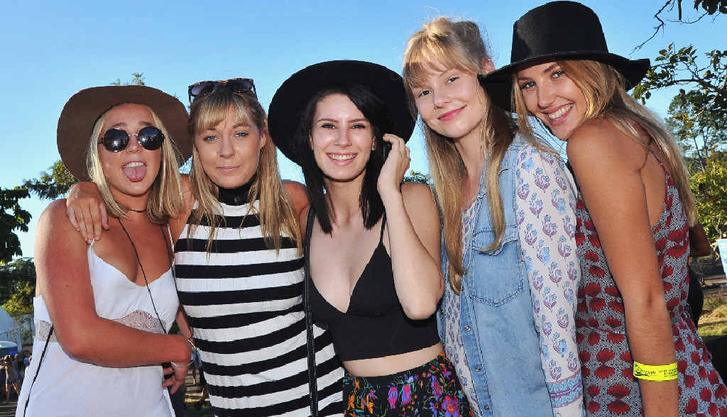 Tahli Ryder-Mitchell, Holly Williams, Mady Fuller, Isabelle Campbell and Brittany James-Rayner enjoy the Big Pineapple Music Festival.
