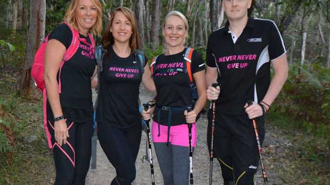 FIT: The Never Never Give Up team of Caroline Marshall, Brooke Menzies, Ros Graham and Andrew Gannaway is training to take on the 100km Oxfam Trailwalker charity event.