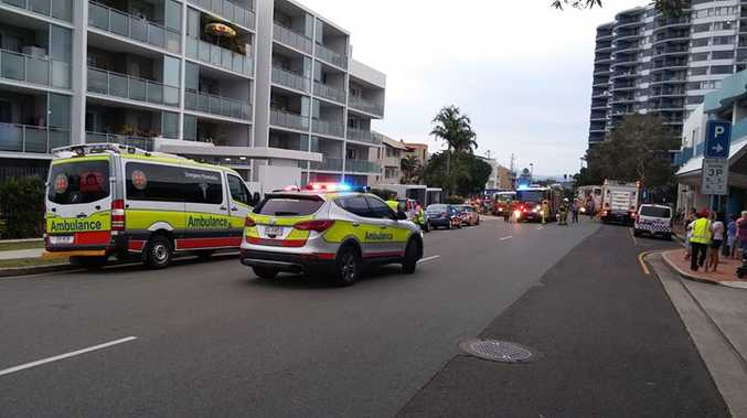 Residents and holidaymakers at the Centrepoint Apartments in Caloundra were evacuated yesterday afternoon after fears of a fire on the third floor.