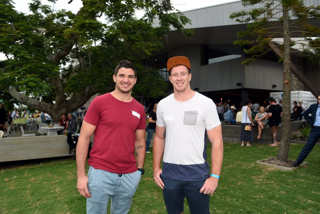 Brisbane Broncos players Matt Gillett and Jack Reed at the opening of the Sandstone Point Hotel. Photo Vicki Wood / Caboolture News