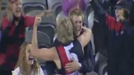 James Hird, of Essendon, celebrates his match-winning goal against West Coast in 2004. Photo: Channel 10