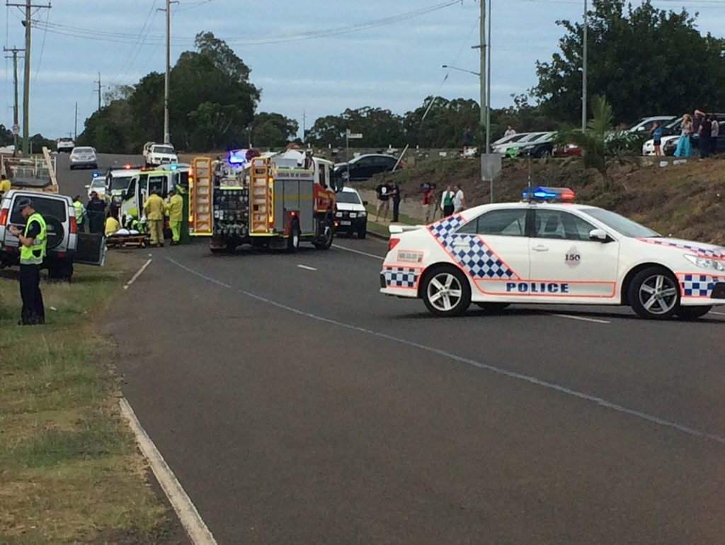 CRASH: Emergency services are currently on scene of a crash at the corner of Johnston and Bolewski St, Bundaberg Photo Contributed
