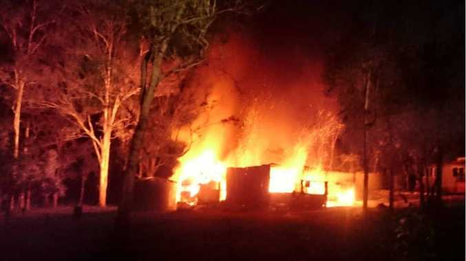 GUTTED: A blaze destroyed a shed at Curra last night.