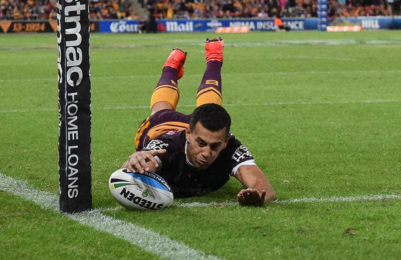 Brisbane Broncos player Jordan Kahu scores a try during their Round 9 game against the Penrith Panthers at Suncorp Stadium in Brisbane, Friday, May 8, 2015.
