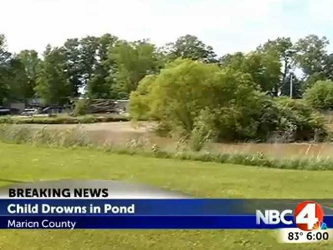 The scene where the toddler drowned in Marion County, Ohio