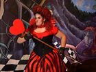 Year 12 student at Mountain Creek High School, Ashleigh Hawkins as 'Queen of Hearts' in the schools take on Alice in Wonderland.
