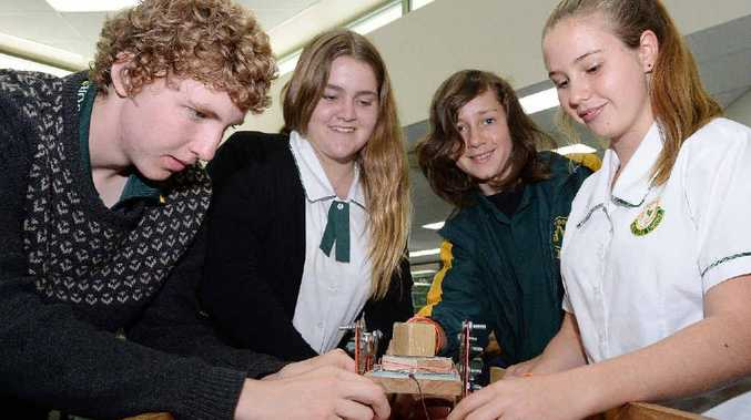 SCIENTIFIC: Kyogle High School year 9 students (L to R) Nick Taylor, Isabelle Slater, Oak Landers and Shay Spargo during SCU's science and engineering challenge.