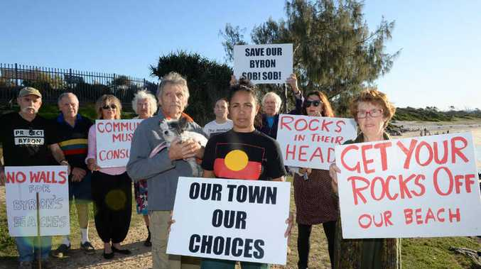 ANGRY: Jim Beatson, Delta Kay and Ruth Winton-Brown, with community members opposing engineering plans for Byron's beaches.