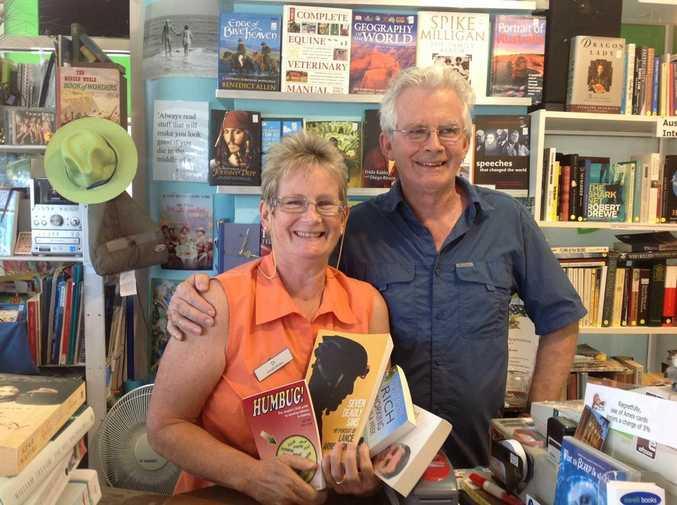 Corelli Books owner Di Batten with regular customer Peter Buckeley.