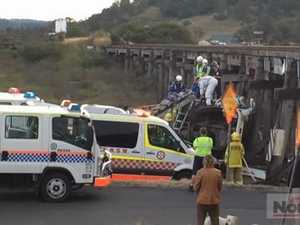 Truck rollover at North Lismore