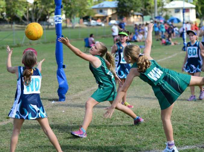 Junior J players from Frenchville Pandas and Cap Coast TSS Tigers at the Sullies netball carnival. Cap Coast wing defence Kaydence Cash catches the ball as Frenchville's goal shooter O. Millar and wing attack T. Marxdsen defend her. Photo Rachael Conaghan/The Morning Bulletin