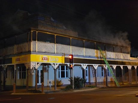 Dalby fire crews were called to the Country Club Hotel at about 2am this morning to find the building on fire.