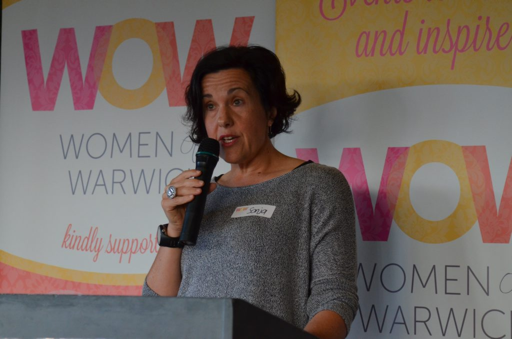 Guest speaker Sonja Pohlman had many interesting stories to tell at the June Women of Warwick breakfast.