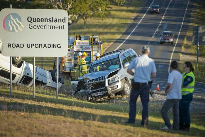 Mitsubishi ute rolled over after a crash with a four wheel drive this afternoon in Tannum Sands