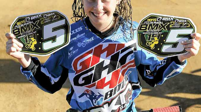 HIGH FIVE: Clarence Valley BMX Club member Tahlia Marsh recently returned from the Australian BMX National titles in Brisbane with two national plates. PHOTO: DEBRAH NOVAK