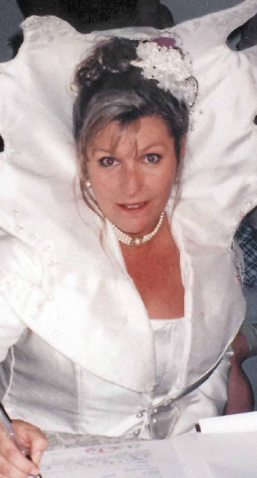 REMEMBERED: Phyllis Morrison-Gardiner in her Barbie-inspired wedding dress in January 2000.