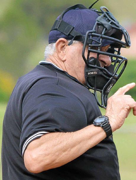 CONSTANT FIXTURE: Pat Leadbeatter umpiring baseball.
