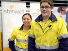 CAREER OPTIONS: Stanwell apprentice Max Stanton with HR representative Rita Ho speak to year 12 students at the Capricorn Careers Expo at CQUniversity yesterday.