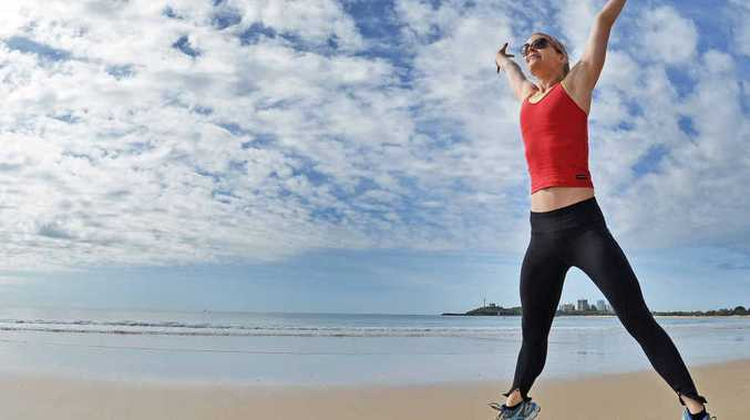 SPRING IN HER STEP: Emma McDonald enjoys her morning exercise in the winter sun at Mooloolaba.
