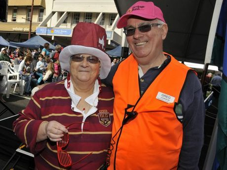 Market convenor Jan Gorring with Greg Johnson. Queensland Day celebrations held in conjunction with Margaret Street Markets. Photo: Bev Lacey / The Chronicle