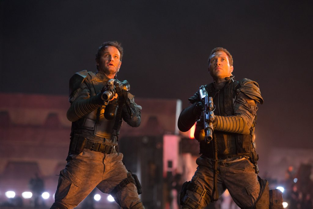 Jason Clarke and Jai Courtney in a scene from Terminator Genisys.