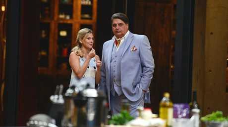 Justine Schofield and Matt Preston in a scene from MasterChef.