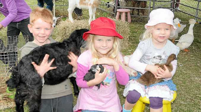 POPULAR PLAYGROUND: Coree Bellingham, Sienna Hanlin and Amity Hanlin loved the ever-popular kids' animal farm at the Toogoolawah Show.