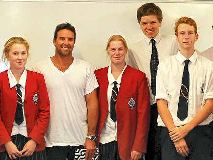 CELEBRITY GUEST: Former World No. 1 tennis player Pat Rafter speaks to the students about Australia's changing identity.