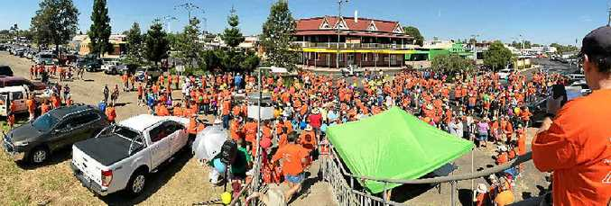 FAMILY FUN: Hundreds of New Acland Mine employees and supporters turned out in force to show support for the mine.