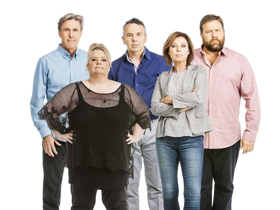The stars of Foxtel's new comedy sketch TV show Open Slather, from left, Glenn Robbins, Magda Szubanski, Michael Veitch, Gina Riley and Shane Jacobson.