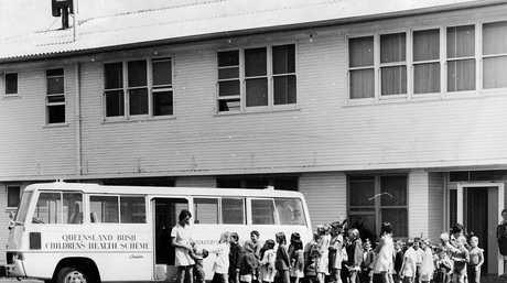 BUSHkids 1930s. Children prepare to baord the BUSHkids bus. Photo Contributed