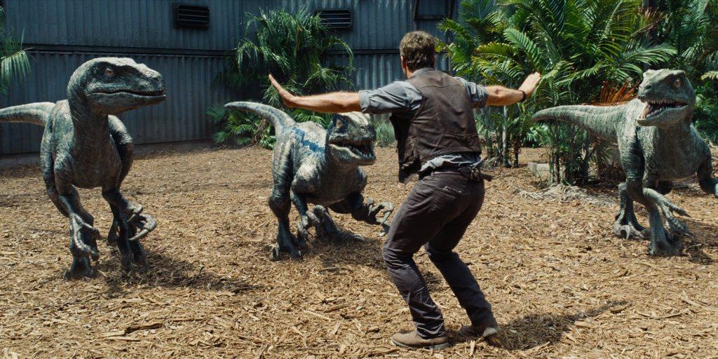 Chris Pratt in a scene from the movie Jurassic World.