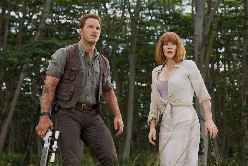 Chris Pratt and Bryce Dallas Howard in a scene from the movie Jurassic World. Supplied by Universal Pictures.