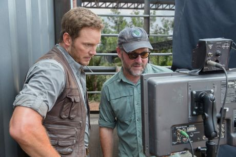 Chris Pratt with director Colin Trevorrow on the set of the movie Jurassic World.